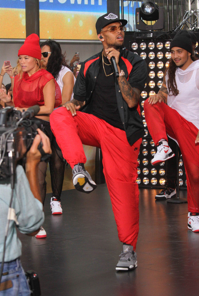 Chris Brown Wearing Cool Grey Air Jordan IV 4 Retro (5)