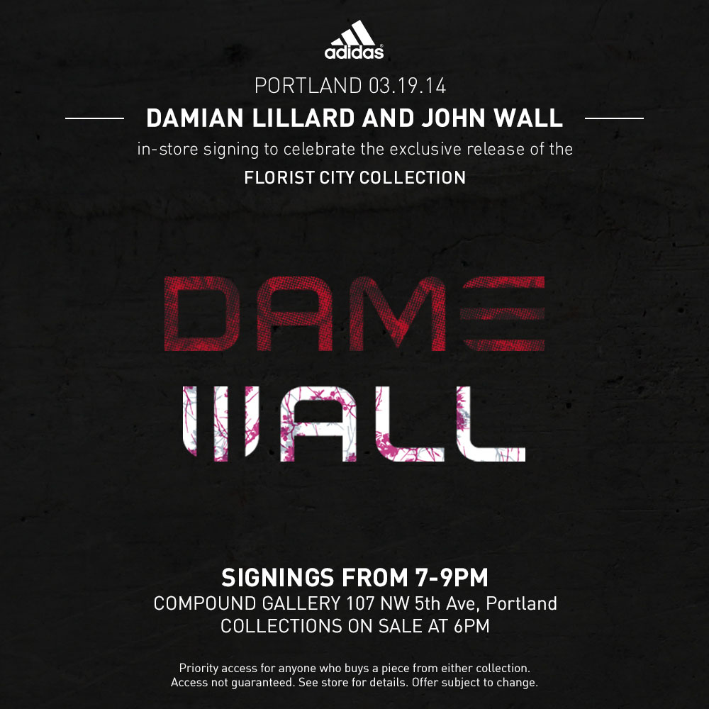 online retailer b9d40 70adb adidas Celebrates Damian Lillard  John Wall with Crazy 1 Florist City  Collection Event Flyer