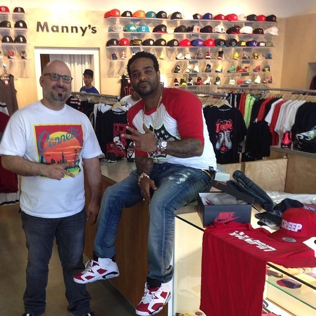 sale retailer c6ccf f28ee Jim Jones wearing Air Jordan VI 6 Carmine