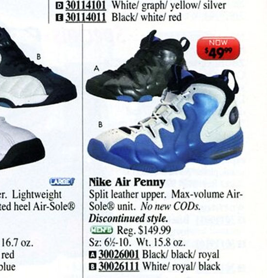 Nike Air Penny 3 in Eastbay Catalog 1999