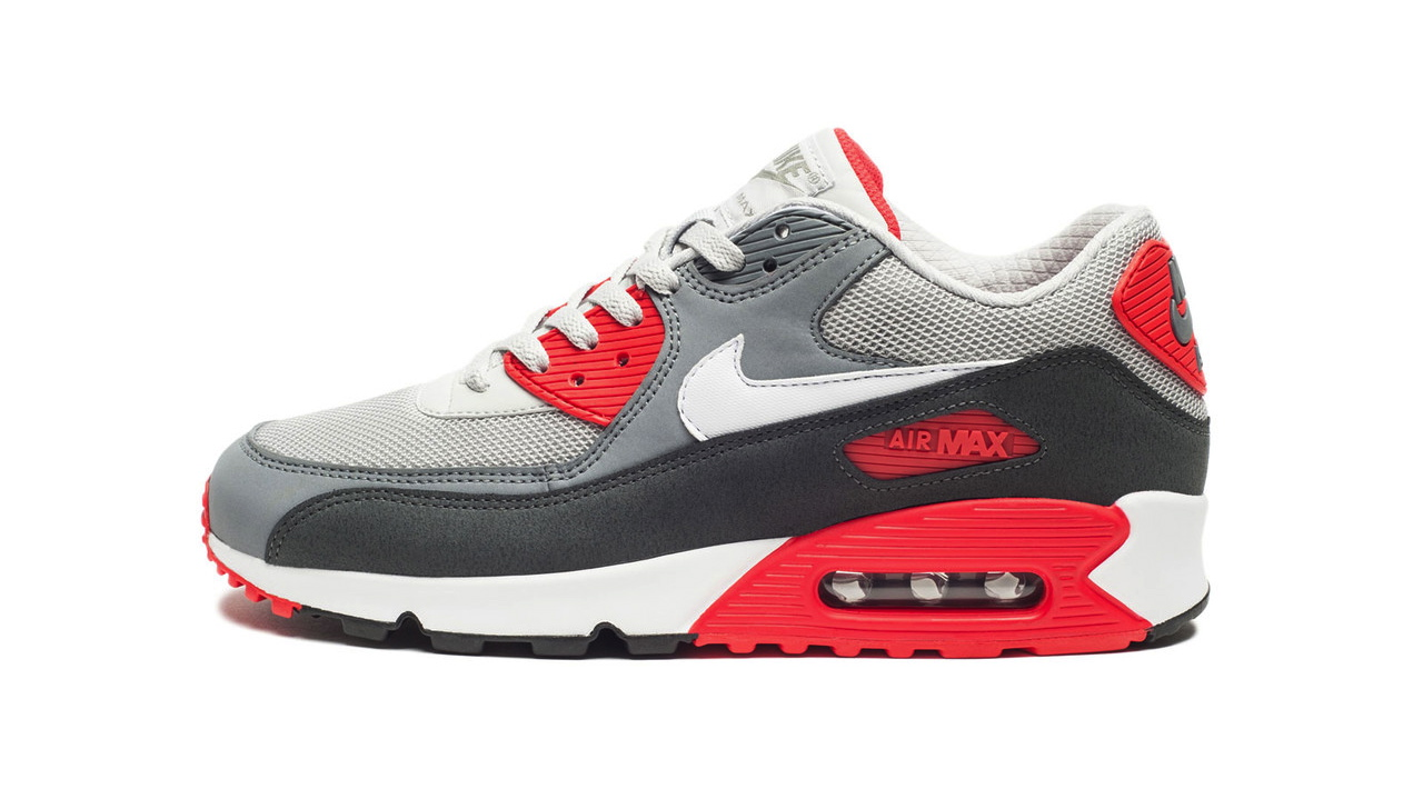 buy online 1ca8c e66b6 Nike Air Max 90 Essential in Dusty Grey and Red profile