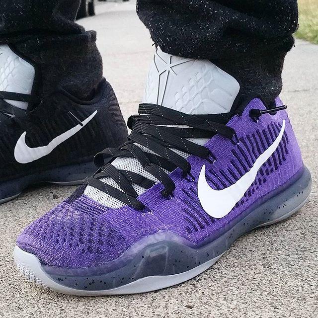 watch 232a0 825b2 Nike Kobe 10 Elite Low Purple Black Gold Green