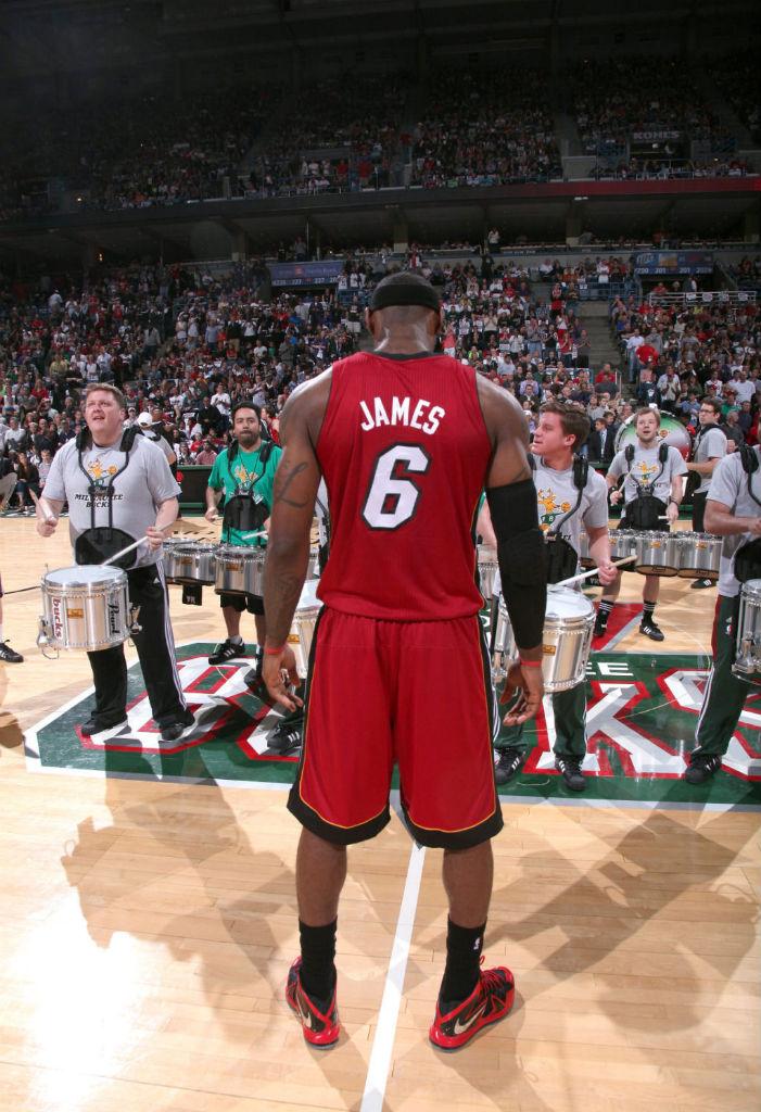 release date fe0b2 7e593 LeBron James wearing Nike LeBron X PS Elite Red Black PE (7)