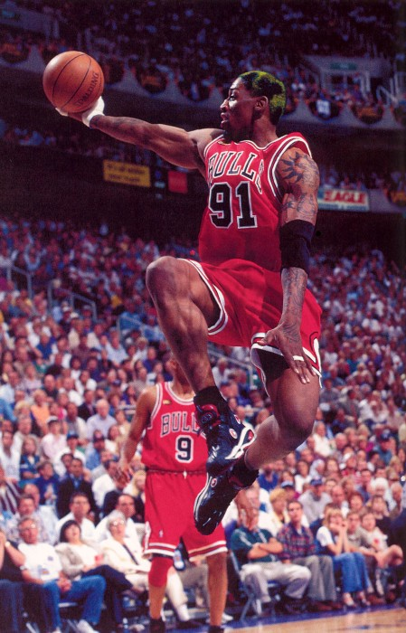 Dennis Rodman wearing the Converse Worm