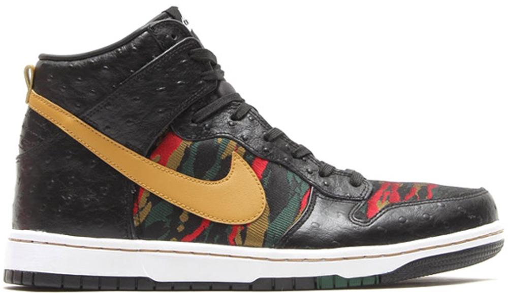 Nike Dunk High CMFT Premium QS Black/Flat Gold-Hyper Red