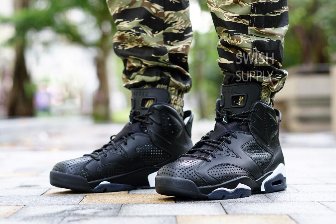 Black Cat Jordan 6 On-Foot Front