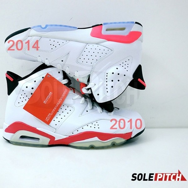 size 40 dad5c d204e Air Jordan 6 Retro  White Infrared  - 2010 vs. 2014 Comparison
