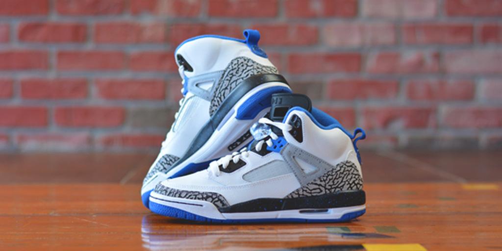 the best attitude 8f689 397aa Jordan Spiz ike GS White Sport Blue-Black-Wolf Grey