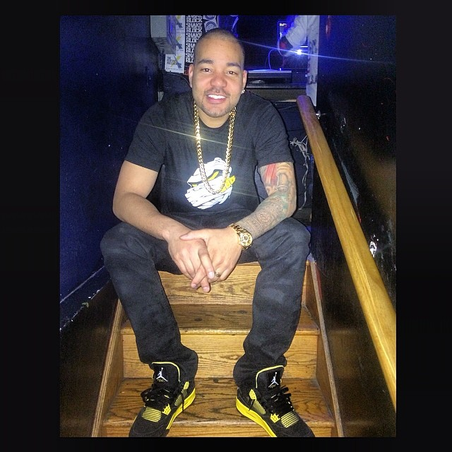 DJ Envy wearing Air Jordan 4 Retro Thunder