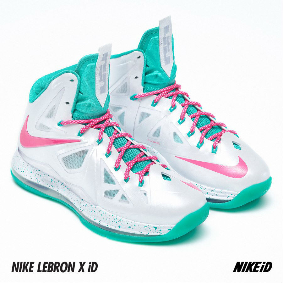 Nike LeBron X iD White Pink Flash Atomic Teal (5)