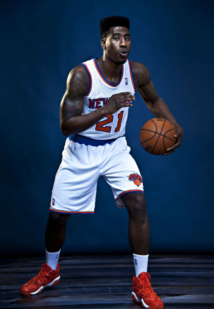 Iman Shumpert wearing adidas Top Ten 2000