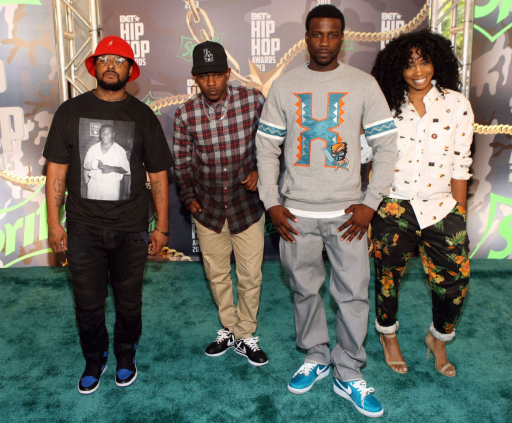 Schoolboy Q wearing Air Jordan 1 I Retro Royal; Kendrick Lamar wearing Nike Cortez; Jay Rock wearing Nike Air Force 1 Lush Teal