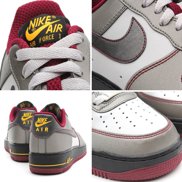 nike air force 1 low dusty grey metallic pewter cherrywood details