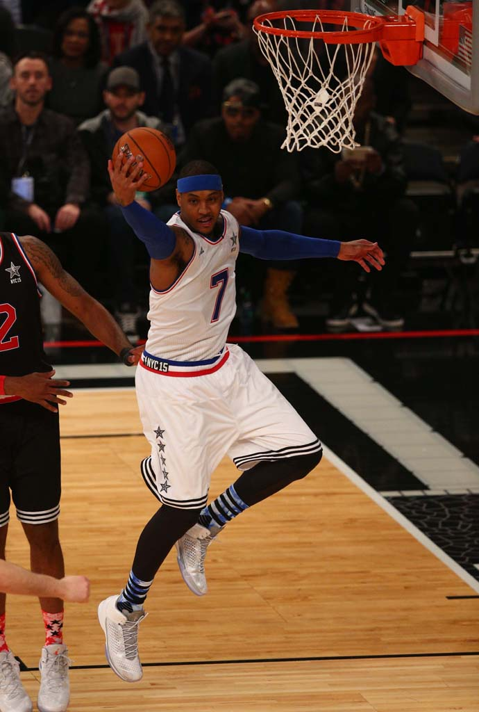 Carmelo Anthony wearing the 'Pearl' All-Star Jordan Melo M11 (1)
