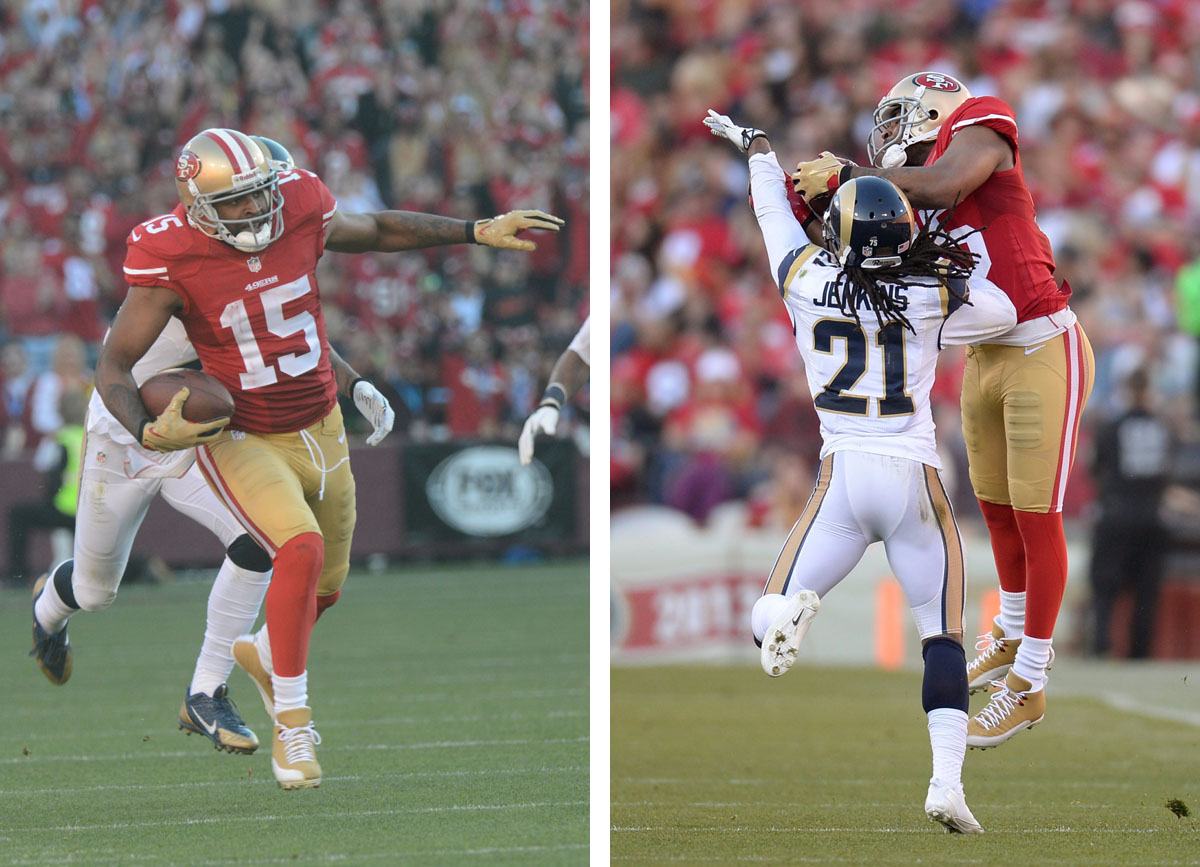 Michael Crabtree wearing Air Jordan 12 49ers Gold PE Cleats (7)