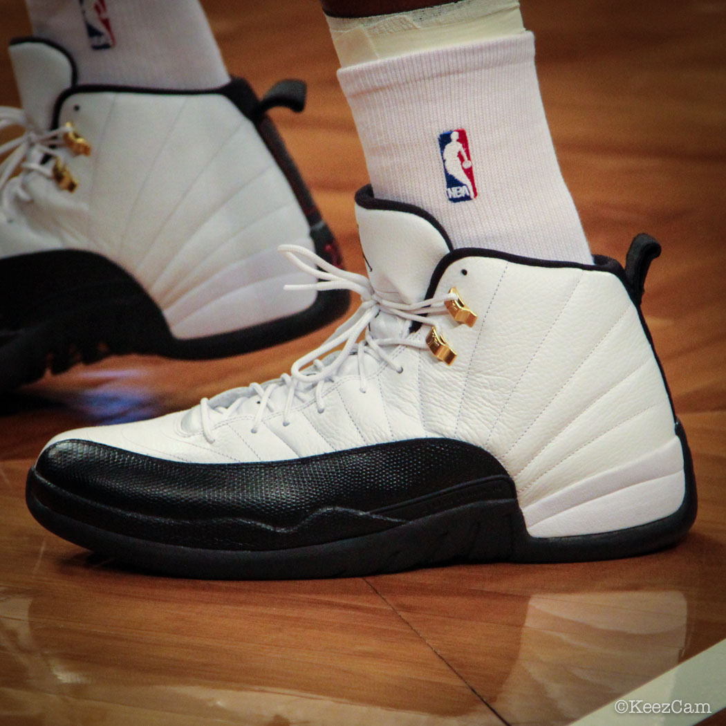 Sole Watch // Up Close At Barclays for Nets vs Heat - Joe Johnson wearing Air Jordan 12 Taxi