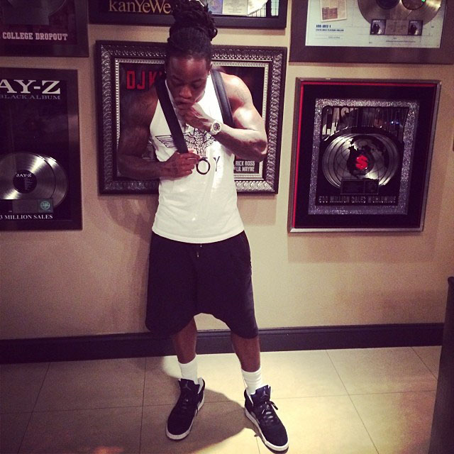Ace Hood wearing Air Jordan 5 Retro Oreo