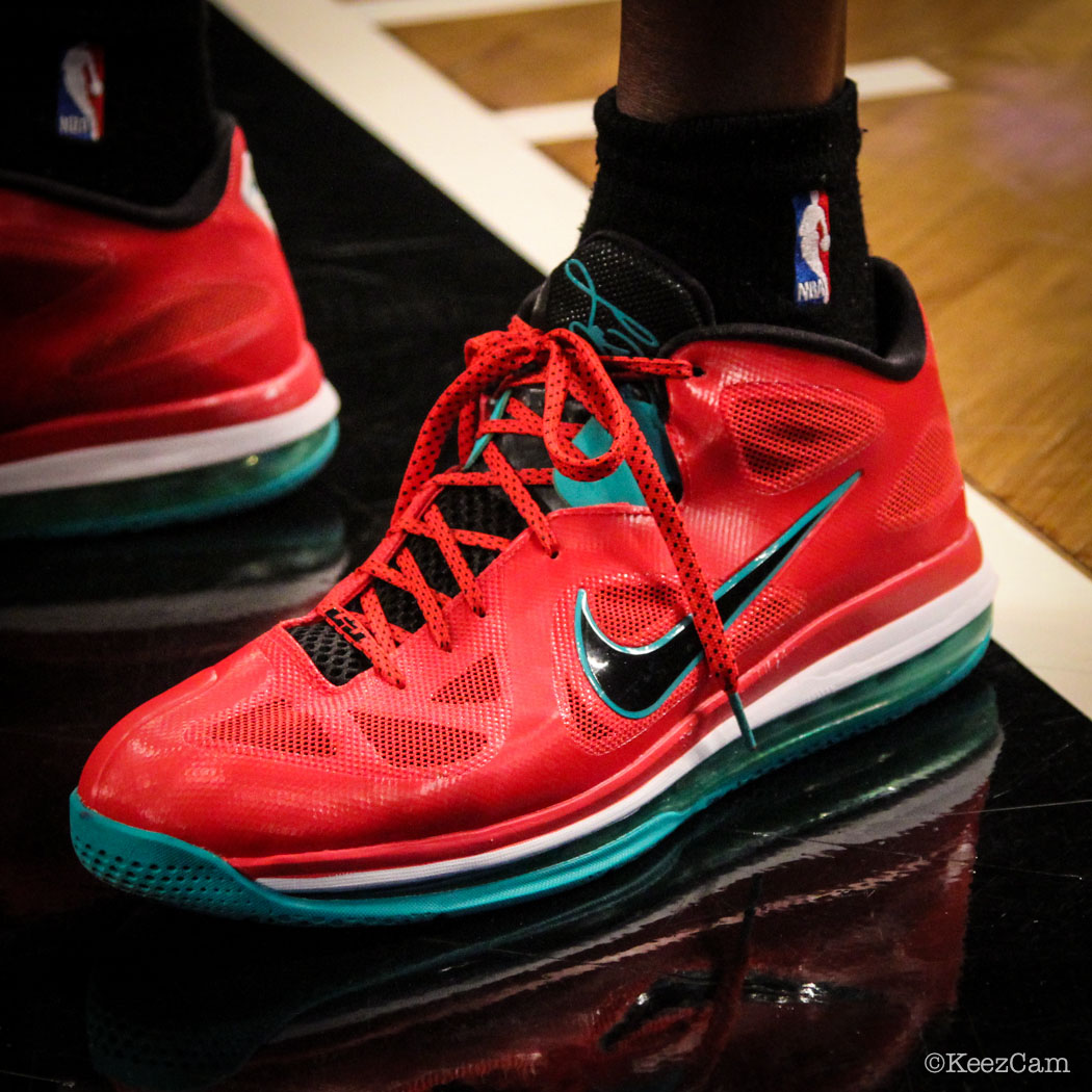 Sole Watch // Up Close At Barclays for Nets vs Bucks - Ekpe Udoh wearing Nike LeBron 9 Low Liverpool