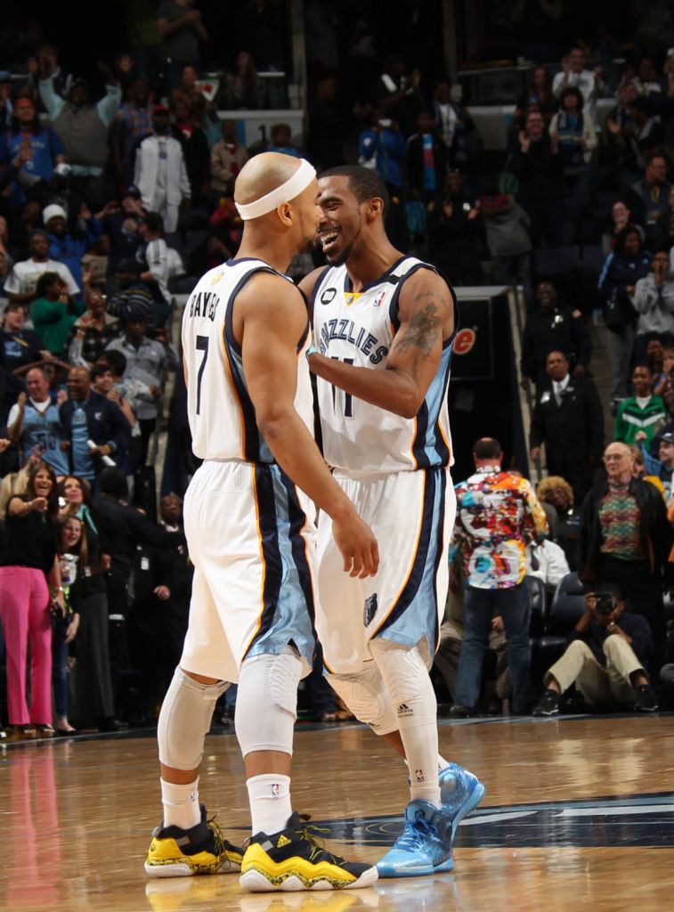 419deda19c2 Mike Conley wearing adidas Rose 3.5 Triple Blue  Jerryd Bayless wearing  adidas Top Ten 2000