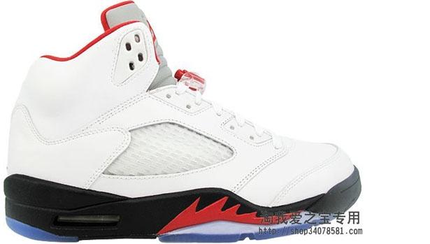 Air Jordan 5 Retro White/Fire Red-Black '13