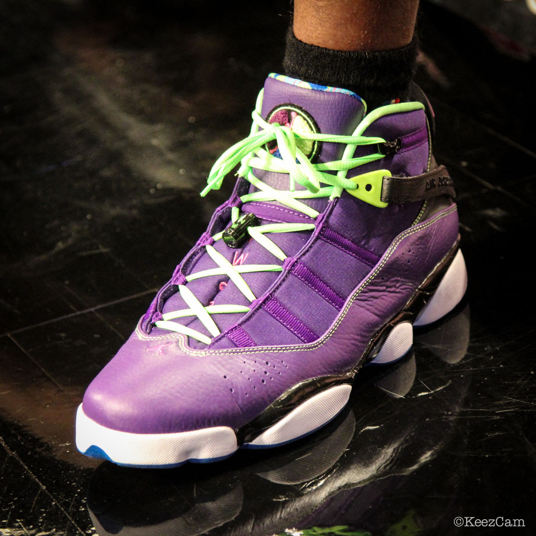 SoleWatch // Up Close At Barclays for Nets vs Lakers - Jodie Meeks wearing Jordan 6 Rings Bel-Air