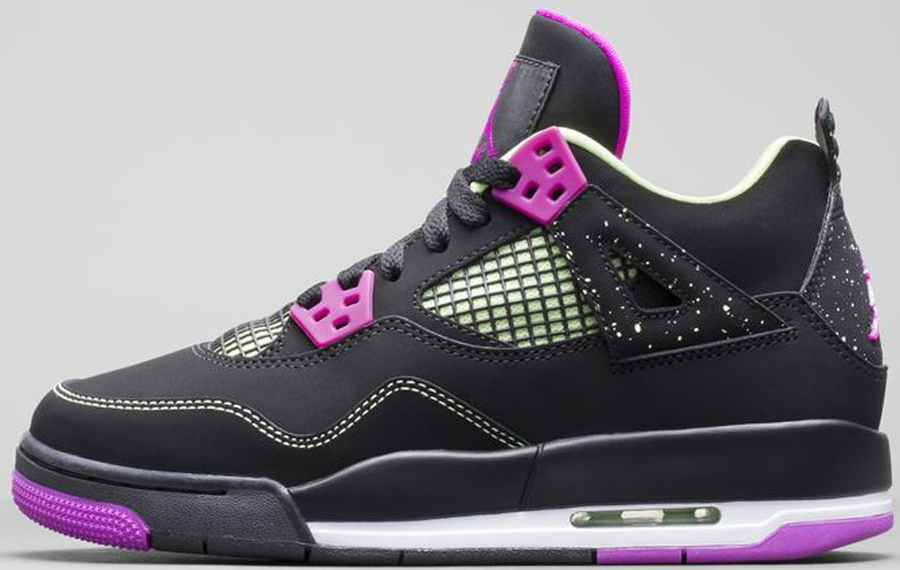 Air Jordan 4 Retro Girls Black/Fuchsia Force-Flash Lime