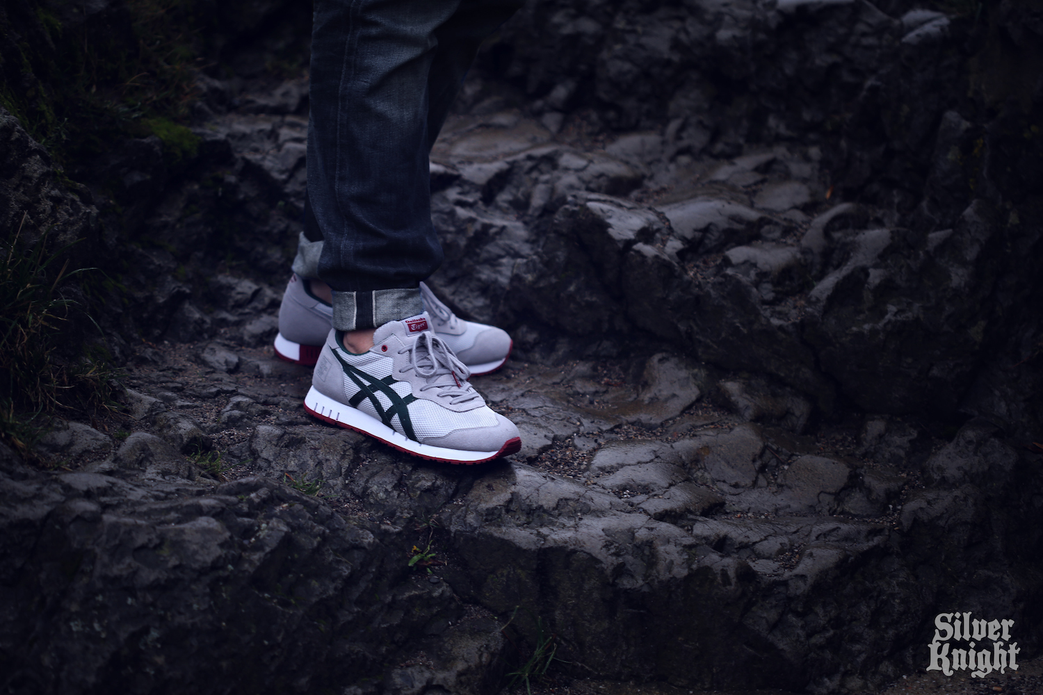 The Good Will Out x Onitsuka Tiger X-Caliber Silver Knight on foot