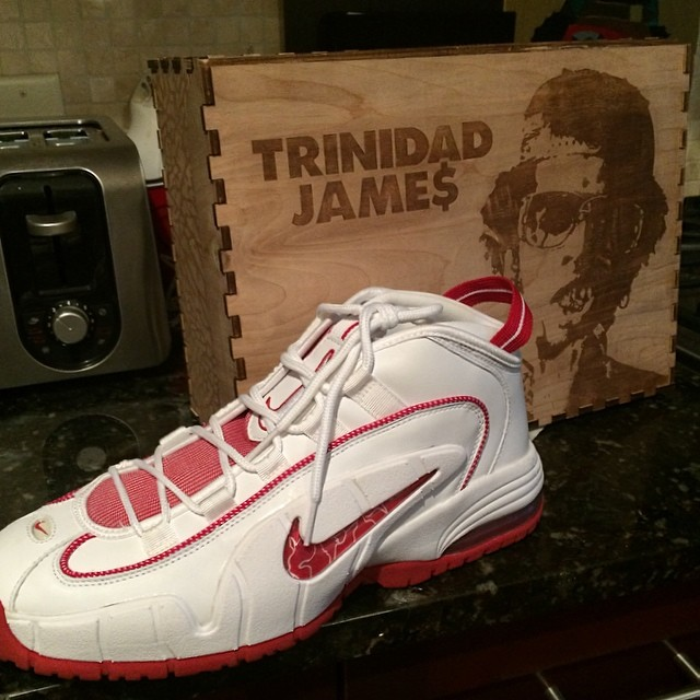 Trinidad James Picks Up Nike Air Penny I 1 White/Red