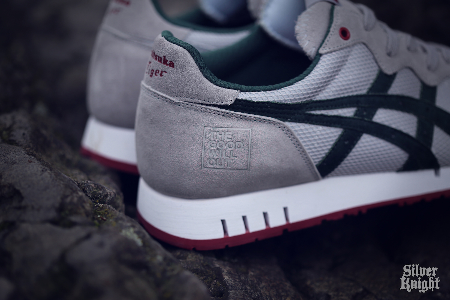 The Good Will Out x Onitsuka Tiger X-Caliber Silver Knight logo detail