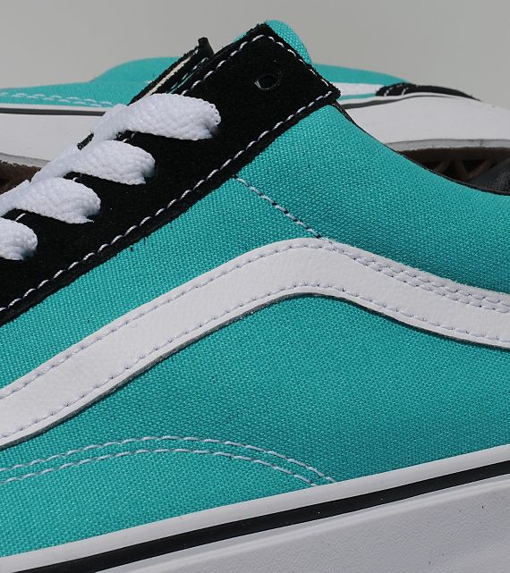 f2ac022d6bc The Ceramic Turquoise-Black Vans Old Skool is now available online via Size