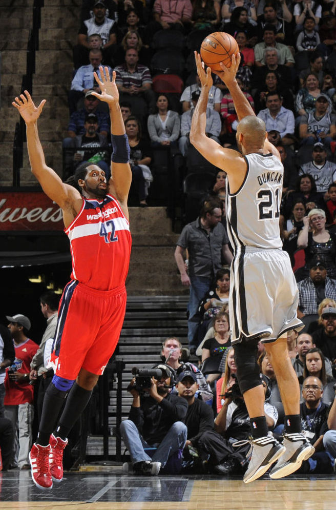 Tim Duncan wearing adidas Crazy Fast; Nene wearing adidas adipower Howard