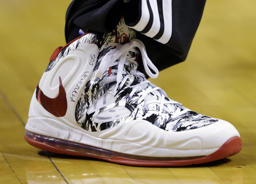 Chris Bosh wearing Nike Air Max Hyperposite White/Red Camo PE