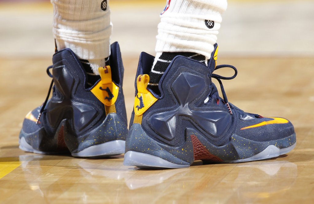 9d985a6c582ca low price lebron james wearing a cavs navy nike lebron 13 pe 1 6d145 a1c96