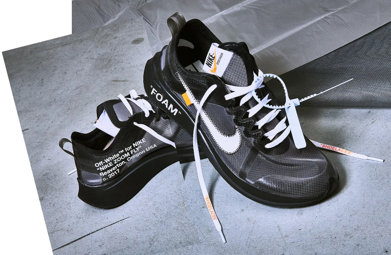 Off White x Nike Zoom Fly SP 'Black' 'Tulip Pink' Release