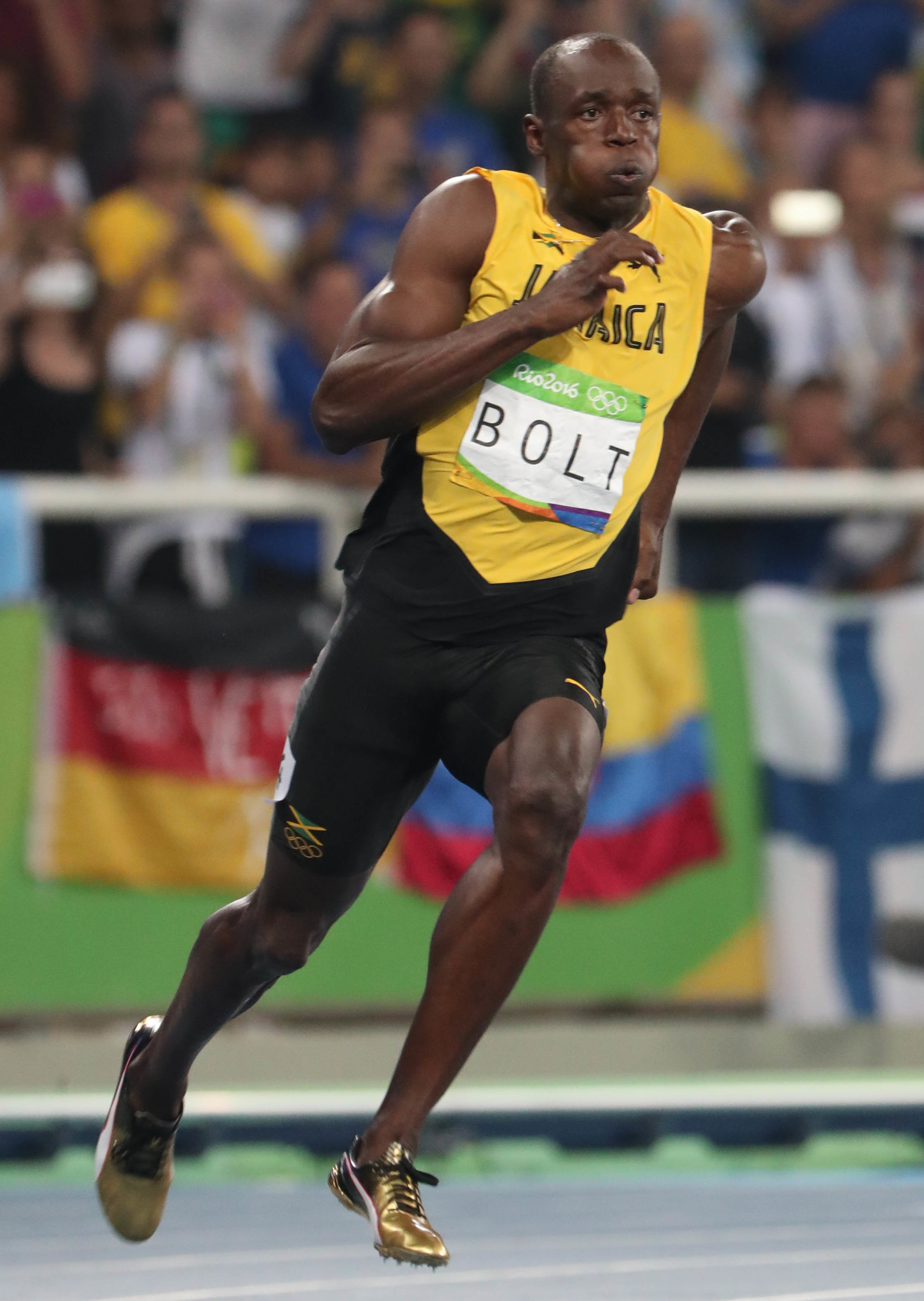 usain bolts gold puma spikes for the olympics sole