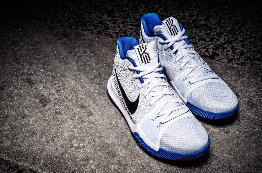 low priced ed581 75bcc Nike Kyrie 3 White Blue Toe