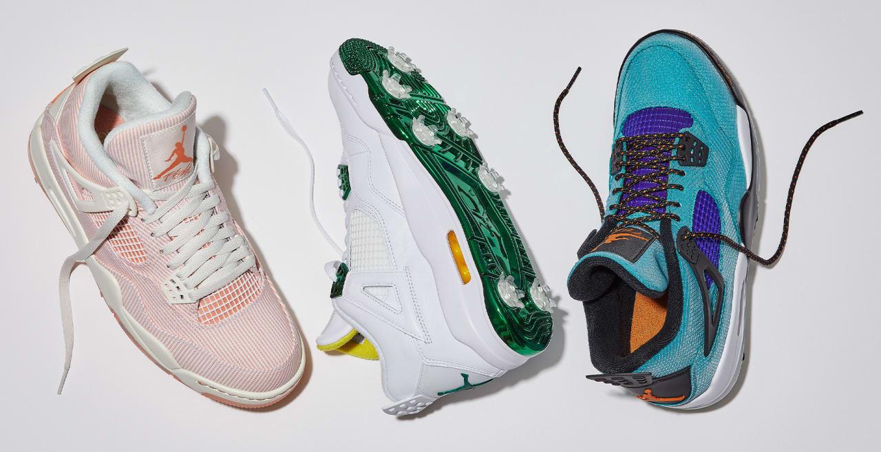 Air Jordan 4 Golf Shoes 'Seersucker' 'Green Metallic' 'Teal Purple ...