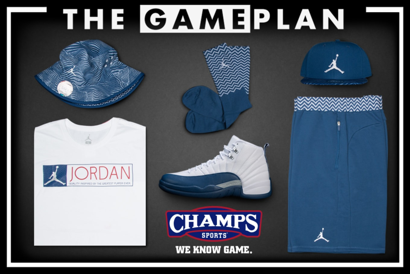 6e4eff04be0 The Game Plan by Champs Sports Presents the Jordan French Blue Collection
