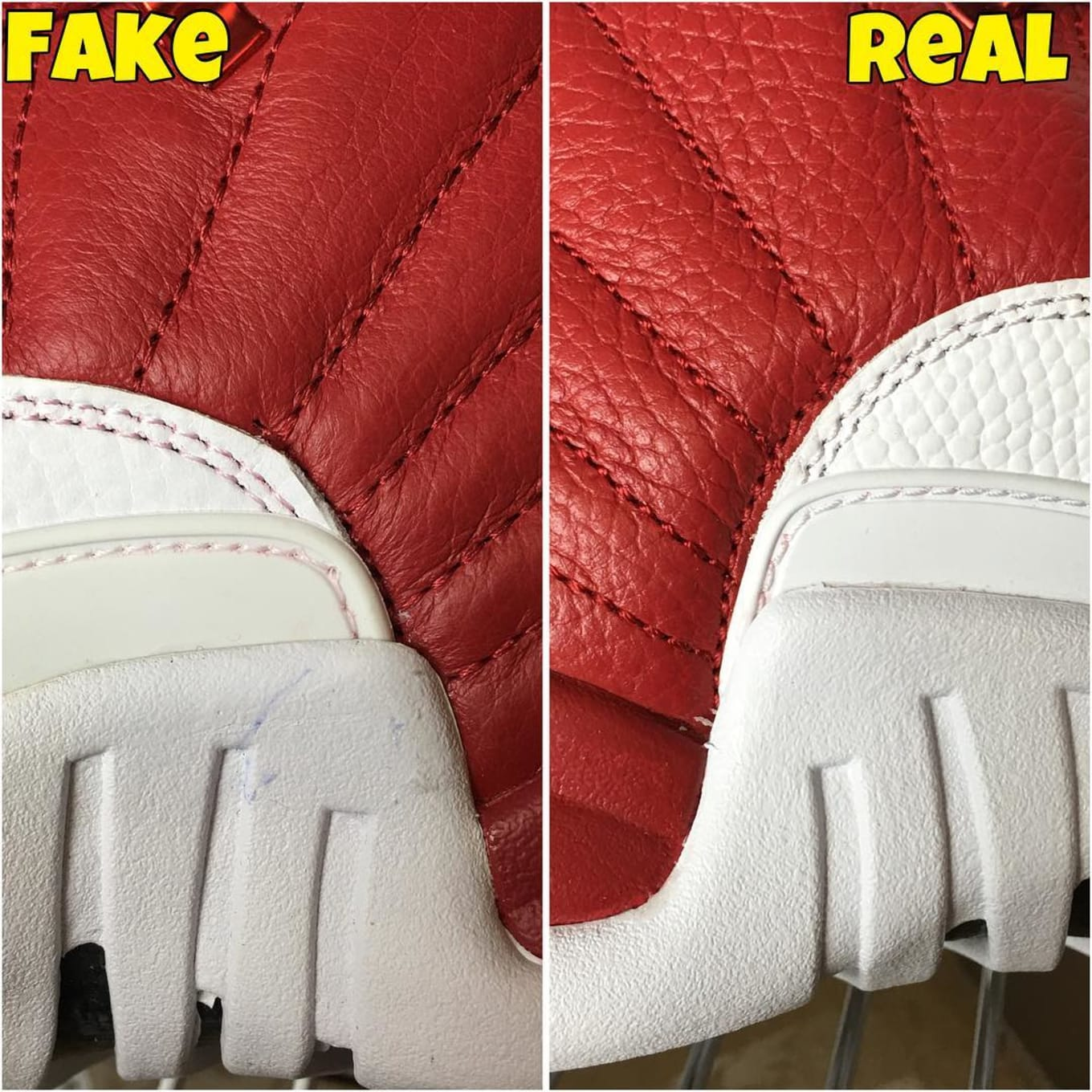 best service 1c774 a11fb Air Jordan XII 12 Gym Red Alternate Real Fake Legit Check (8)