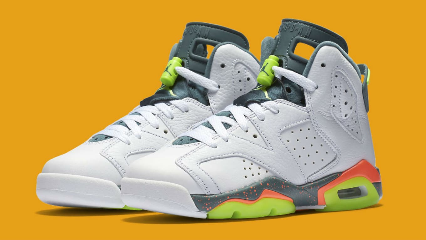 buy online deba3 06c0d Air Jordan 6 Retro GS White Ghost Green-Hasta-Bright Mango 384665-