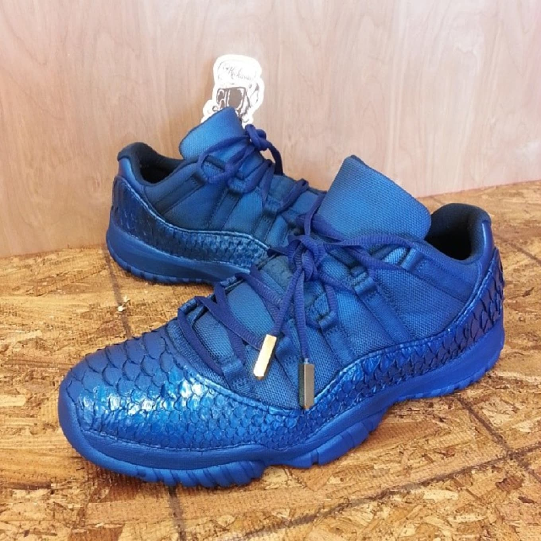 wholesale dealer 9954c 0664d Air Jordan XI 11 Low Blue Python Custom by Kickasso