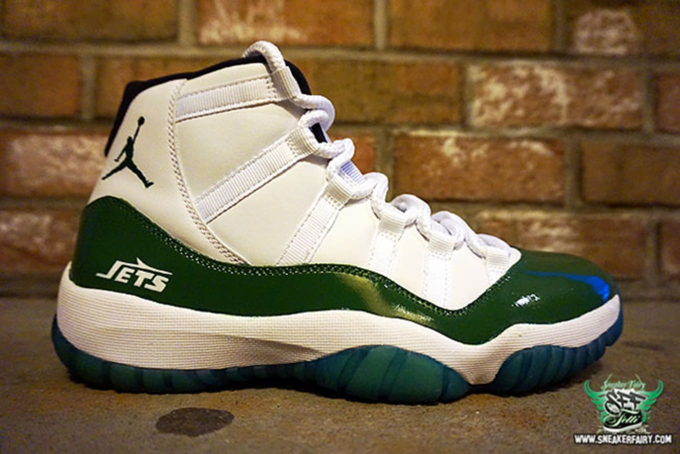 new style 109f2 e4cc7 Air Jordan XI 11 New York Jets Custom by Sneaker Fairy