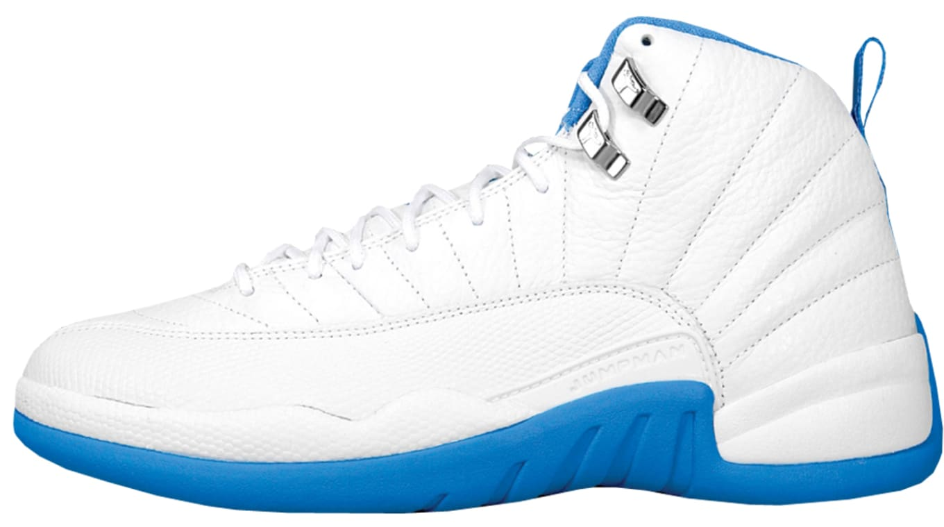 online store 084fd a56dd Air Jordan 12 Retro  Melo  136001-142. White University Blue-Metallic Silver