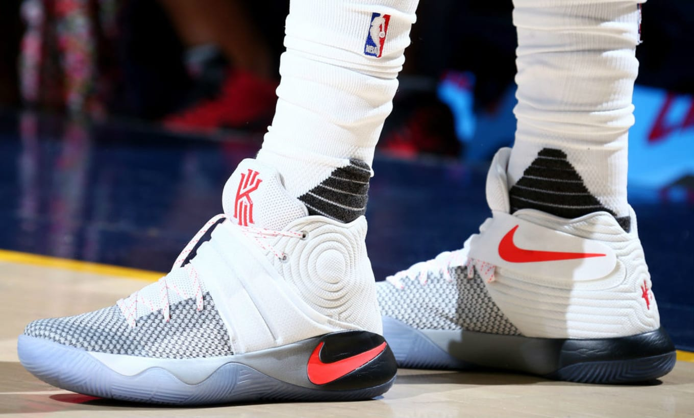 uk availability 26a64 ac3c9 Kyrie Irving Wearing a White/Grey-Black-Crimson Nike Kyrie 2 ...