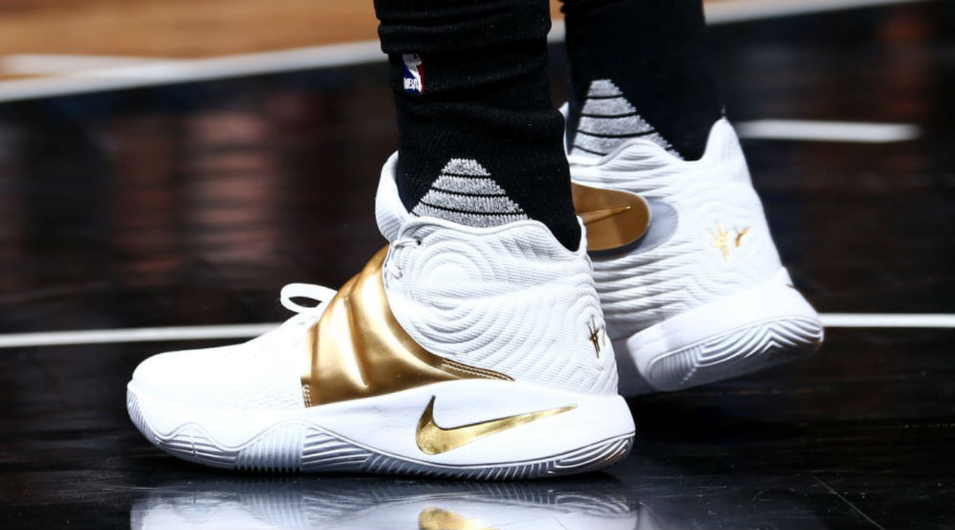 new products d2c2d e1353 Kyrie Irving Wears White/Gold Nike Kyrie 2 | Sole Collector