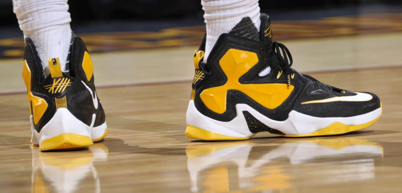 39535fd8cf9 LeBron James Wearing a Black Yellow-White Nike LeBron 13 PE