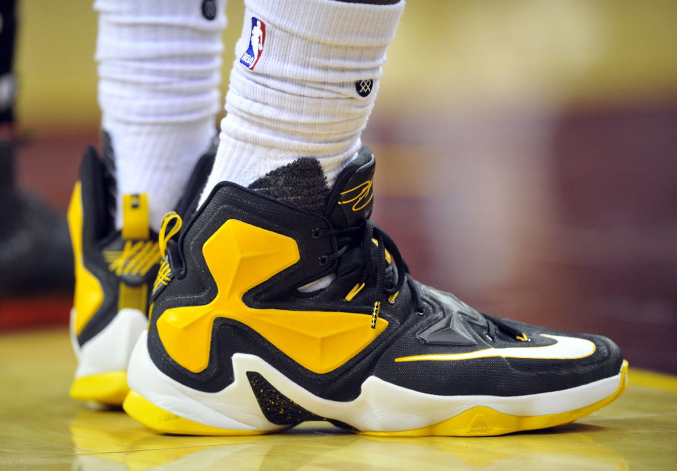 competitive price 611ef 1e94c ... where to buy lebron james wearing a black yellow white nike lebron 13  pe 3f35e eccc2
