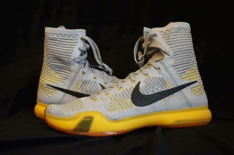 new style 04a28 75bf3 Nike Kobe 10 Elite High Grey Black-Yellow Sample (2015)