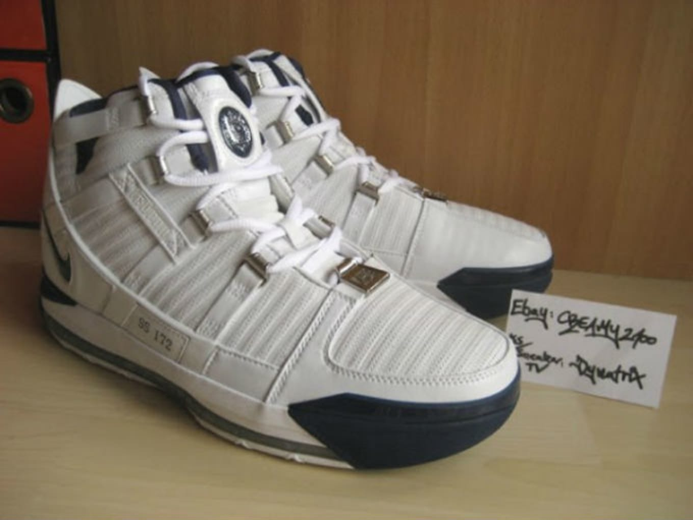 competitive price 7164d 1d825 LeBron 3 White Navy