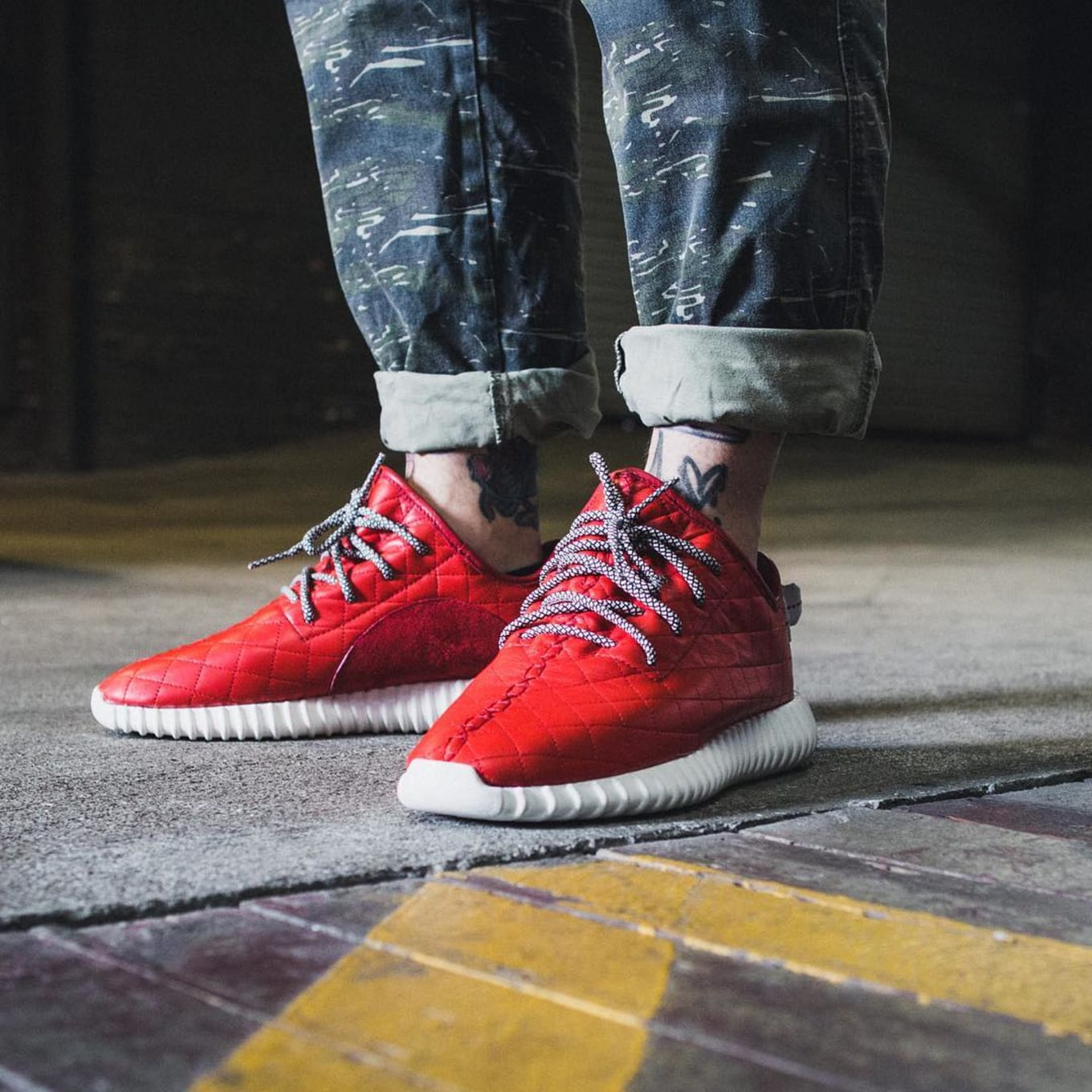 promo code d266f ccdd4 Quilted Red Leather adidas Yeezy 350 Boost by The Shoe Surgeon (1)